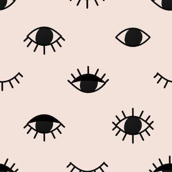 Bezszwowe tło wzór oczu, psychodeliczna mistyczna ilustracja wektorowa halloween