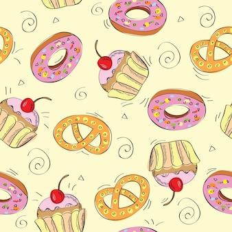 Bezszwowe tło wzór - słodkie ciasta - ilustracja wektorowa