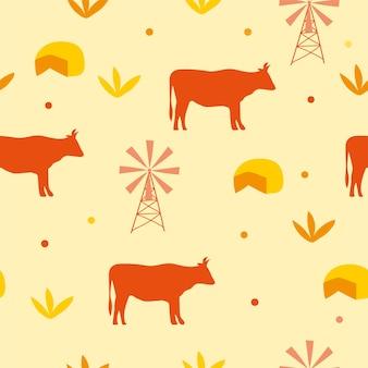 Bezszwowe tło wzór z krową i serem - ilustracja wektorowa w kolorze żółtym i pomarańczowym.