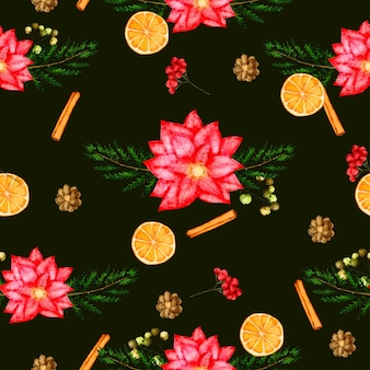 Bezszwowe tło wzór z liści i kwiatów