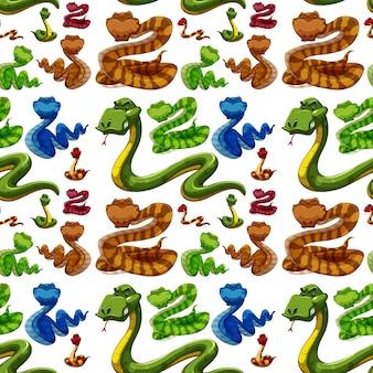 Bezszwowe tło z dzikimi wężami