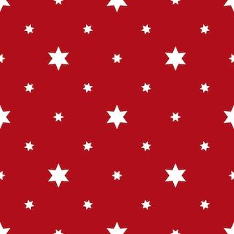 Bezszwowe tło z gwiazdami przedstawionymi na jasnoczerwonej powierzchni. ilustracja wektorowa