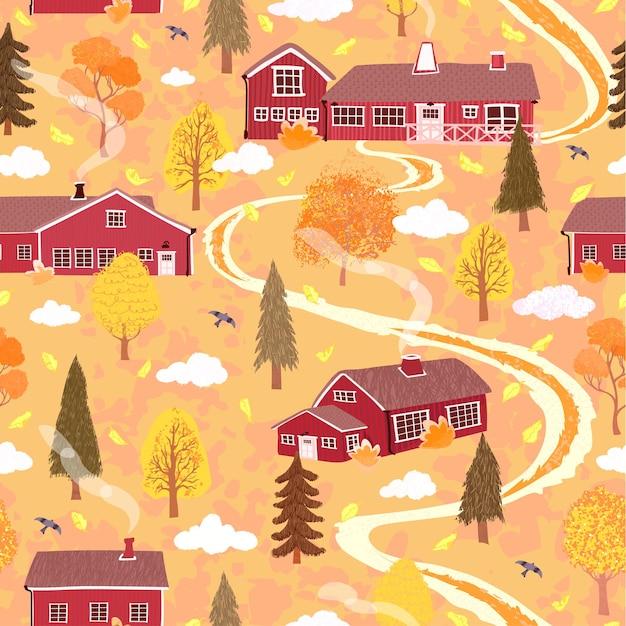 Bezszwowe tło z ilustracją jesiennego krajobrazu z domem w stylu skandynawskim