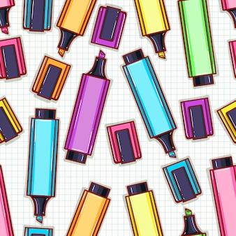 Bezszwowe tło z jasnymi kolorowymi markerami