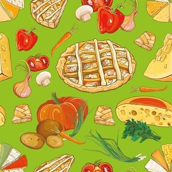 Bezszwowe tło z jedzeniem: ciasta, ser i warzywa. wzór.