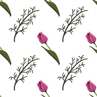 Bezszwowe tło z kolorowe różowe tulipany. ilustracja wektorowa.kwiatowy bezszwowe tło z kolorowych tulipanów. wiosenny nastrój. faktura tkaniny, design opakowań prezentowych. grafika wektorowa