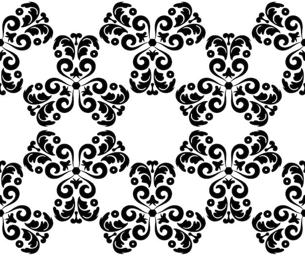 Bezszwowe tło z kwiatami fantasy czarno-biały wzór kwiatowy z lokami grafika wektorowa