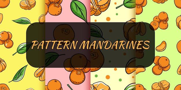 Bezszwowe tło z mandarynkami