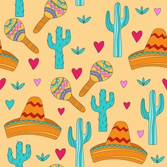 Bezszwowe tło z meksykańską kulturą atrybutów meksykańskiego tła