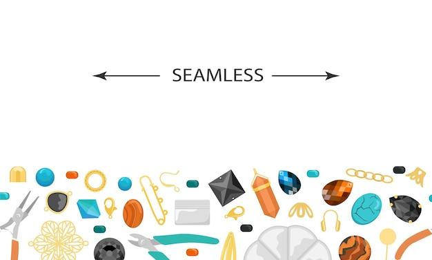 Bezszwowe tło z narzędziami i materiałami do ręcznie robionej biżuterii