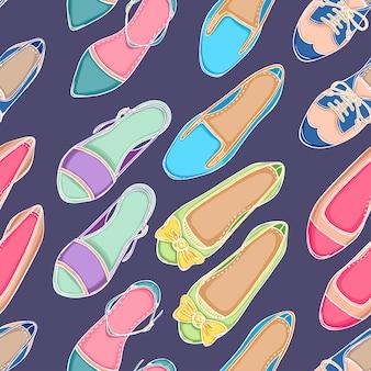 Bezszwowe tło z różnych kolorowych butów