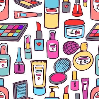 Bezszwowe tło z różnych kosmetyków i produktów do pielęgnacji ciała. ręcznie rysowana ilustracja