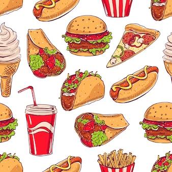 Bezszwowe tło z różnymi fast foodami