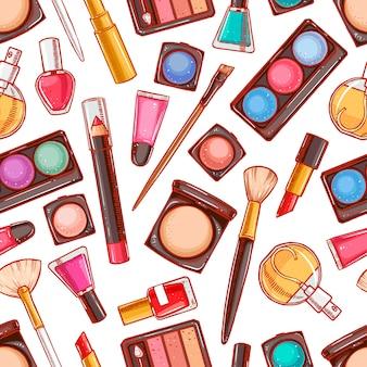 Bezszwowe tło z różnymi kosmetykami dekoracyjnymi. szminka, puder, cień do oczu