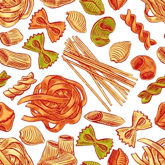 Bezszwowe tło z różnymi rodzajami makaronu. ręcznie rysowane ilustracji