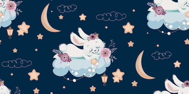 Bezszwowe tło z śpiącym królikiem na chmurze
