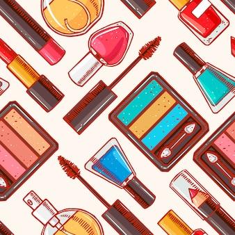 Bezszwowe tło z szkicu różnych kosmetyków dekoracyjnych. szminka, lakier do paznokci, cień do oczu