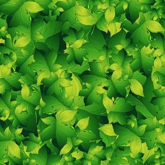 Bezszwowe tło z zielonych liści