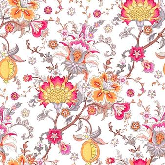 Bezszwowe tło ze stylizowanymi kwiatami w stylu vintage