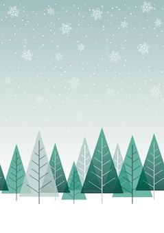 Bezszwowe tło zielony las zimowy z miejsca na tekst. powtarzalne w poziomie.