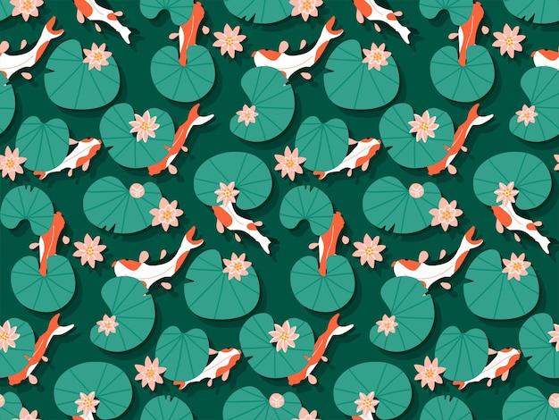 Bezszwowe tradycyjne z wzorem ryby karpia koi pływają w szmaragdowej wodzie z ręcznie rysowane różowe kwiaty lotosu lilii