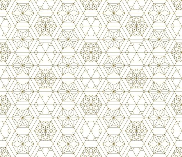 Bezszwowe tradycyjny japoński ornament kumiko wzór. złoty kolor linii.
