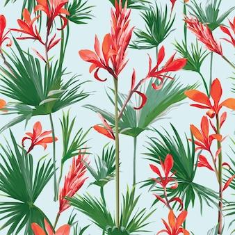Bezszwowe tropikalne kwiaty i liście palmowe tło. egzotyczna letnia tekstura do projektowania, notatnik