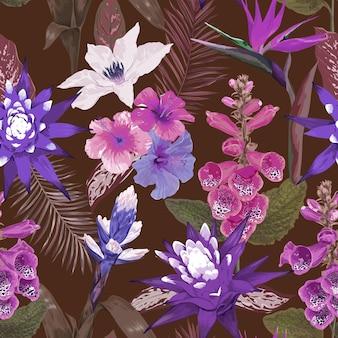 Bezszwowe tropikalne liście i kwiaty, tropikalny wzór tła w stylu przypominającym akwarele, lato wydruku, plakat, okładka, ilustracja wektorowa