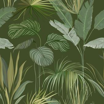 Bezszwowe tropikalne tło botaniczne, kwiatowy nadruk tapety z egzotycznymi liśćmi philodendron monstera jungle, rośliny lasów deszczowych, ozdoba natury na tekstylia lub papier do pakowania. ilustracja wektorowa