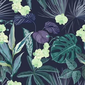 Bezszwowe tropikalny tło z roślinami philodendron i monstera rainforest, kwiecista tapeta z egzotycznymi kwiatami orchidei, nocne kwiaty i liście dżungli, ozdoba natury. ilustracja wektorowa