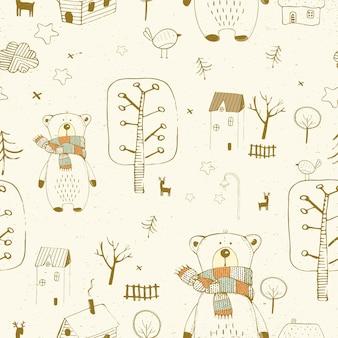 Bezszwowe tupot z ładnymi chatami niedźwiedzia drogie i ptaki ręcznie rysowane ilustracji wektorowych