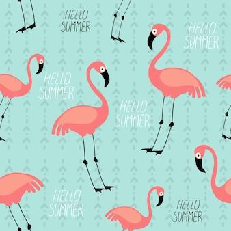 Bezszwowe wektor letni wzór ze zdjęciami ptaków flamingo w stylu kreskówki