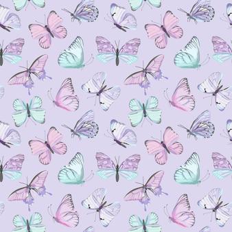 Bezszwowe wektor wzór akwarela motyl. vintage latający owad latem tło. kolorowa tekstura, papier pakowy, rustykalne tapety, tekstylia w tle przyrody
