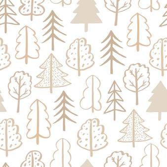 Bezszwowe wektor wzór doodle drzewa handdrawn kontur doodle skandynawski styl