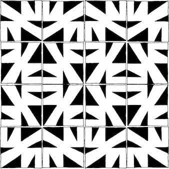 Bezszwowe wektor wzór w stylu ołówka w czarno-białe kwadratowe płytki.