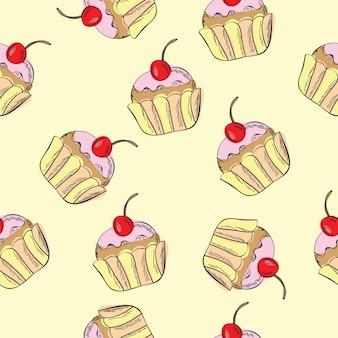 Bezszwowe wektor wzór z babeczkami - słodkie tło