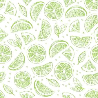 Bezszwowe wektor wzór z ręcznie rysowane limonki.