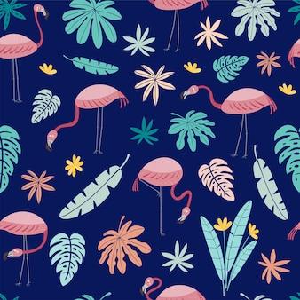 Bezszwowe wektor wzór z różowymi flamingami i tropikalnymi liśćmi na białym tle na niebieskim tle vecto
