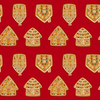 Bezszwowe wektor wzór z ślicznymi domkami z piernika. świąteczne ciasteczka na czerwonym tle. wektor
