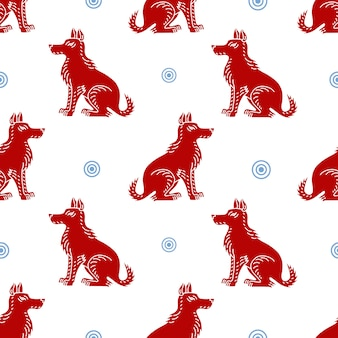 Bezszwowe wektor wzór z sylwetki psa na białym tle. może być używany do kart okolicznościowych, plakatów, banerów, opakowań dla psa ziemnego z 2018 roku.