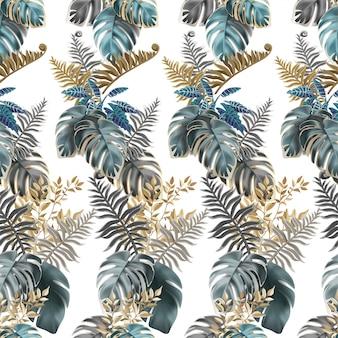 Bezszwowe wzór ciemne liście palmy, liany