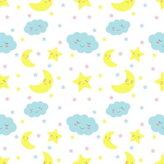 Bezszwowe wzór gwiazdy, księżyc i chmury. kawaii tapety dziecko słodkie pastelowe kolory.