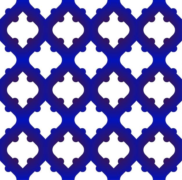 Bezszwowe wzór islamski, niebieski i biały nowoczesny kształt