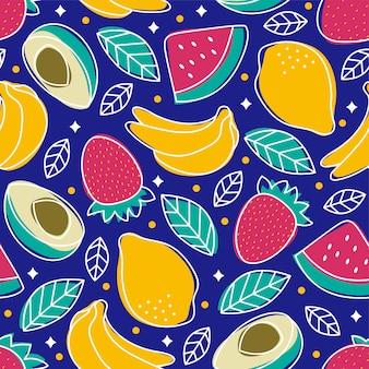 Bezszwowe wzór owoców tropikalnych awokado arbuz truskawkowy banan cytryna