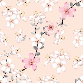 Bezszwowe wzór różowe dzikie kwiaty na na białym tle pastelowe