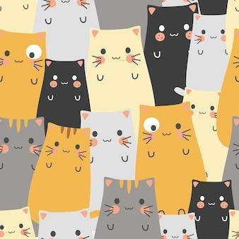 Bezszwowe wzór słodkie kreskówki kot