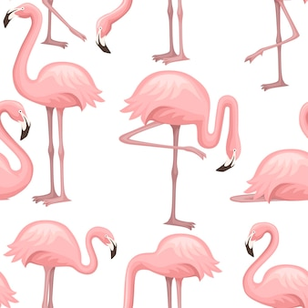 Bezszwowe wzór słodkiej brzoskwiniowej kreskówki różowego flaminga ilustracja kreskówka projekt zwierzęcy