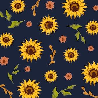 Bezszwowe wzór słonecznika