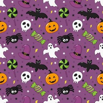 Bezszwowe wzór szczęśliwy halloween ikony na fioletowym tle