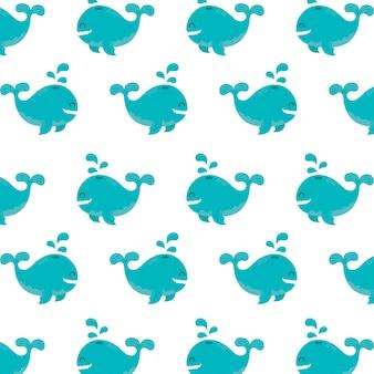 Bezszwowe wzór wielorybów podwodne zwierzę koncepcja wektor